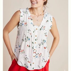 Anthropologie | Maeve Button Down Floral Tank